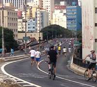 Elevado Costa e Silva, aka Minhocão offers outdoor fitness to Sao Paulo locals on the weekend