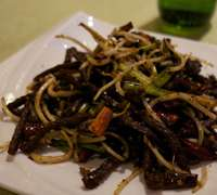 Traditional Chinese dishes feature chipped meat and carbs