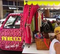 Re-purposed Piaggio Ape Car for Fiuccio pop-up store in Milan