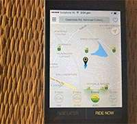 OLA cabs app showing autorickshaws in the vicinity