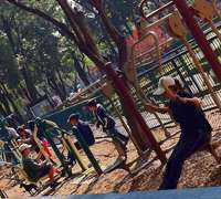 Outdoor group fitness training in a Mexico City Park